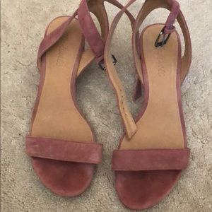 Rose pink block heels from Madewell